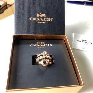 Coach Rose Gold Open Circle Ring Set size 7